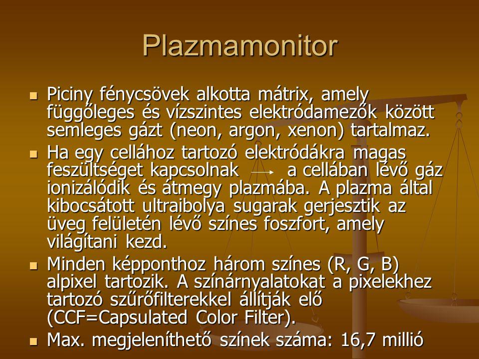 Plazmamonitor Piciny fénycsövek alkotta mátrix, amely függőleges és vízszintes elektródamezők között semleges gázt (neon, argon, xenon) tartalmaz.