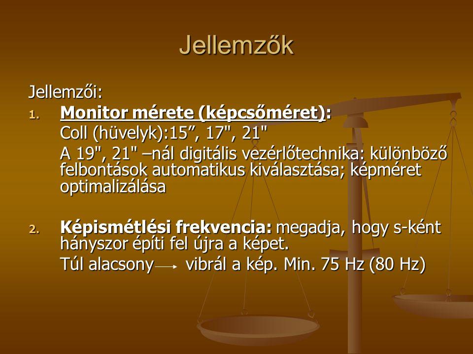 Jellemzők Jellemzői: Monitor mérete (képcsőméret):