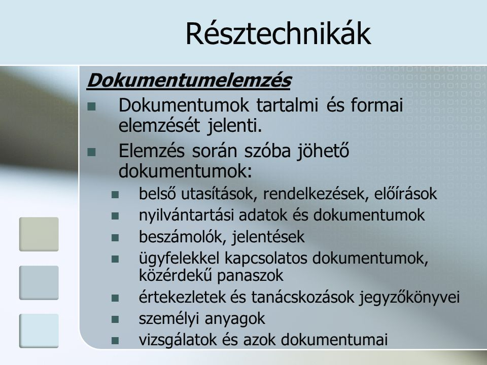 Résztechnikák Dokumentumelemzés