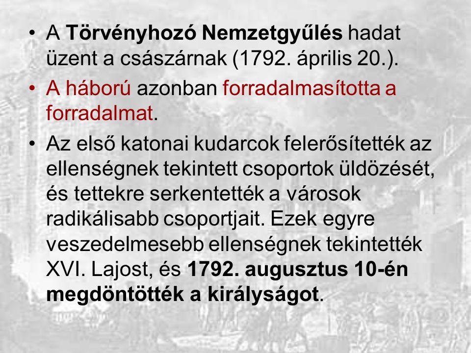 A Törvényhozó Nemzetgyűlés hadat üzent a császárnak (1792. április 20