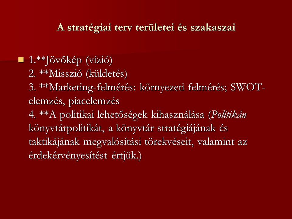 A stratégiai terv területei és szakaszai