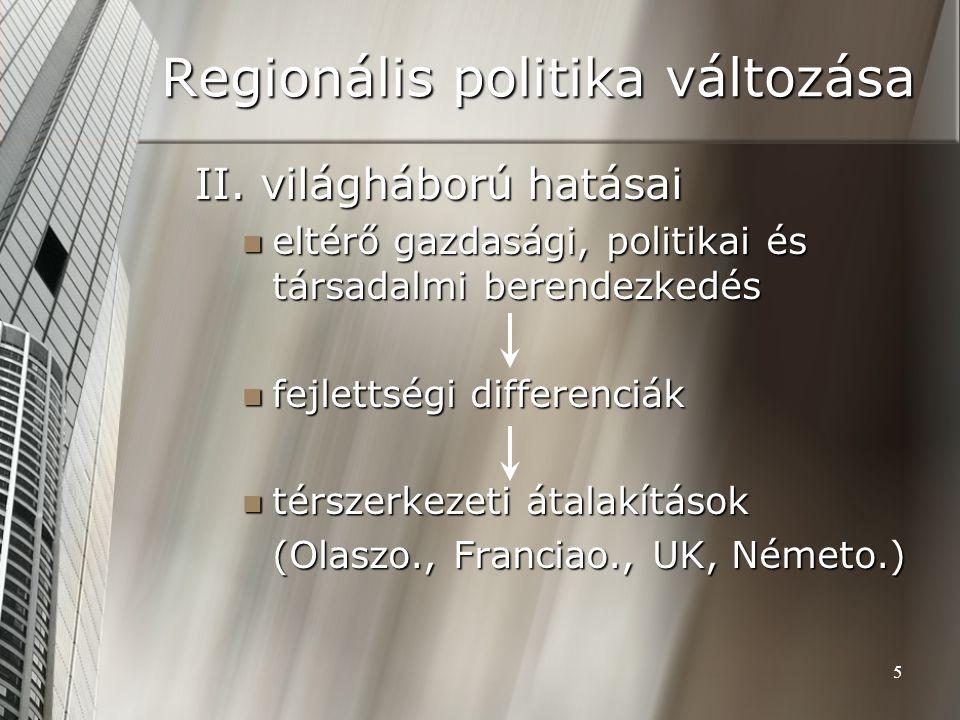 Regionális politika változása