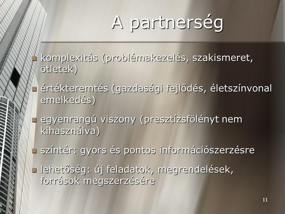 A partnerség komplexitás (problémakezelés, szakismeret, ötletek)