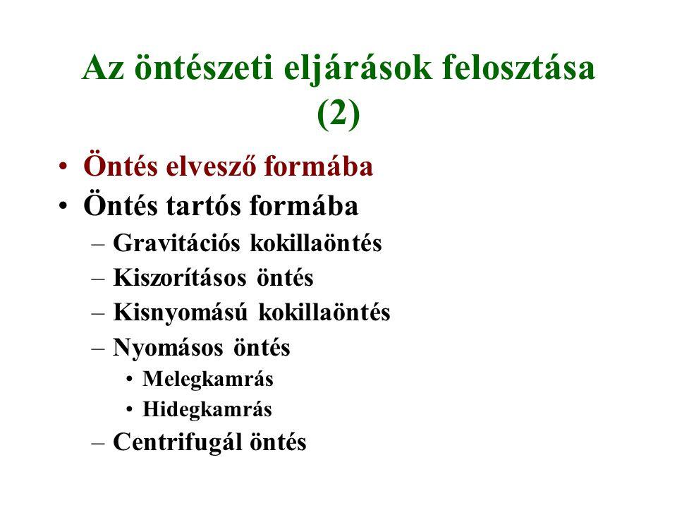 Az öntészeti eljárások felosztása (2)