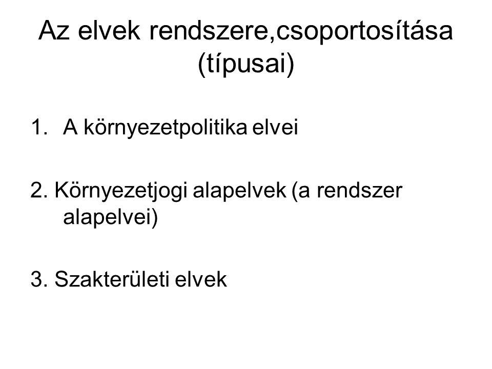 Az elvek rendszere,csoportosítása (típusai)