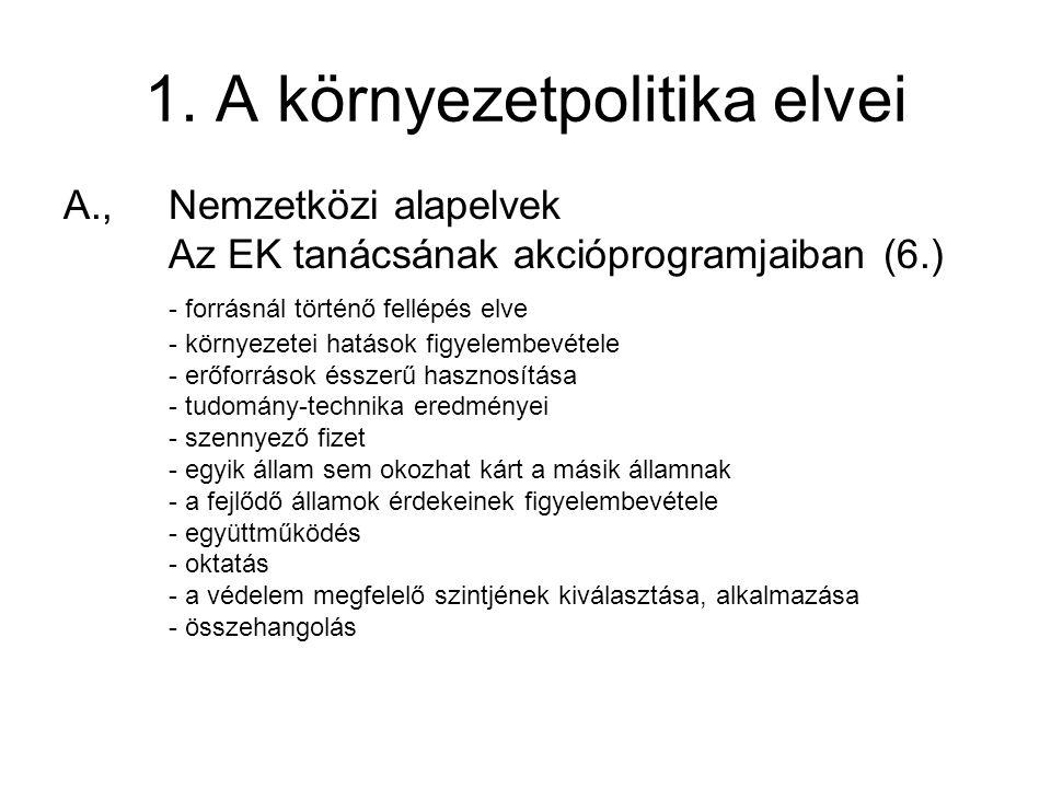 1. A környezetpolitika elvei