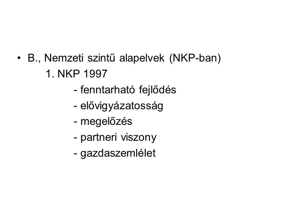 B., Nemzeti szintű alapelvek (NKP-ban)