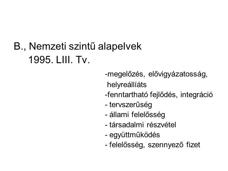 B., Nemzeti szintű alapelvek 1995. LIII. Tv.