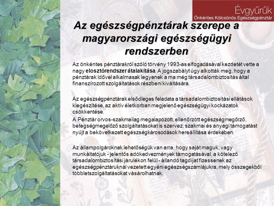 Az egészségpénztárak szerepe a magyarországi egészségügyi rendszerben