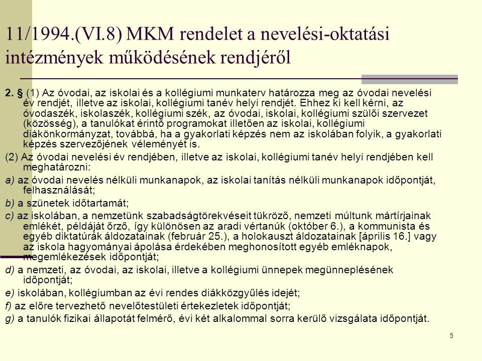 11/1994.(VI.8) MKM rendelet a nevelési-oktatási intézmények működésének rendjéről