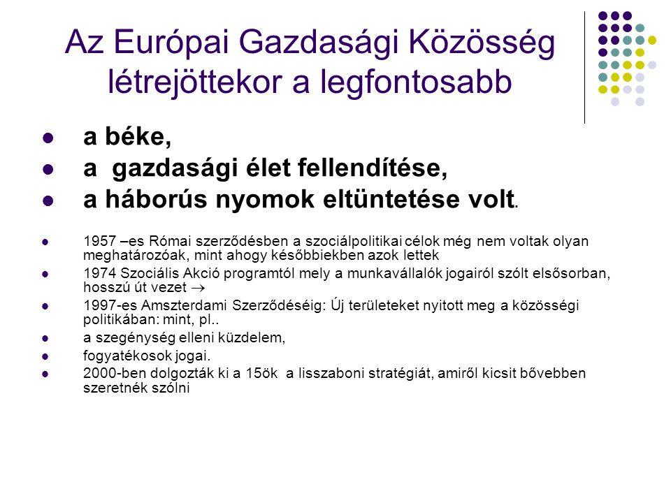 Az Európai Gazdasági Közösség létrejöttekor a legfontosabb