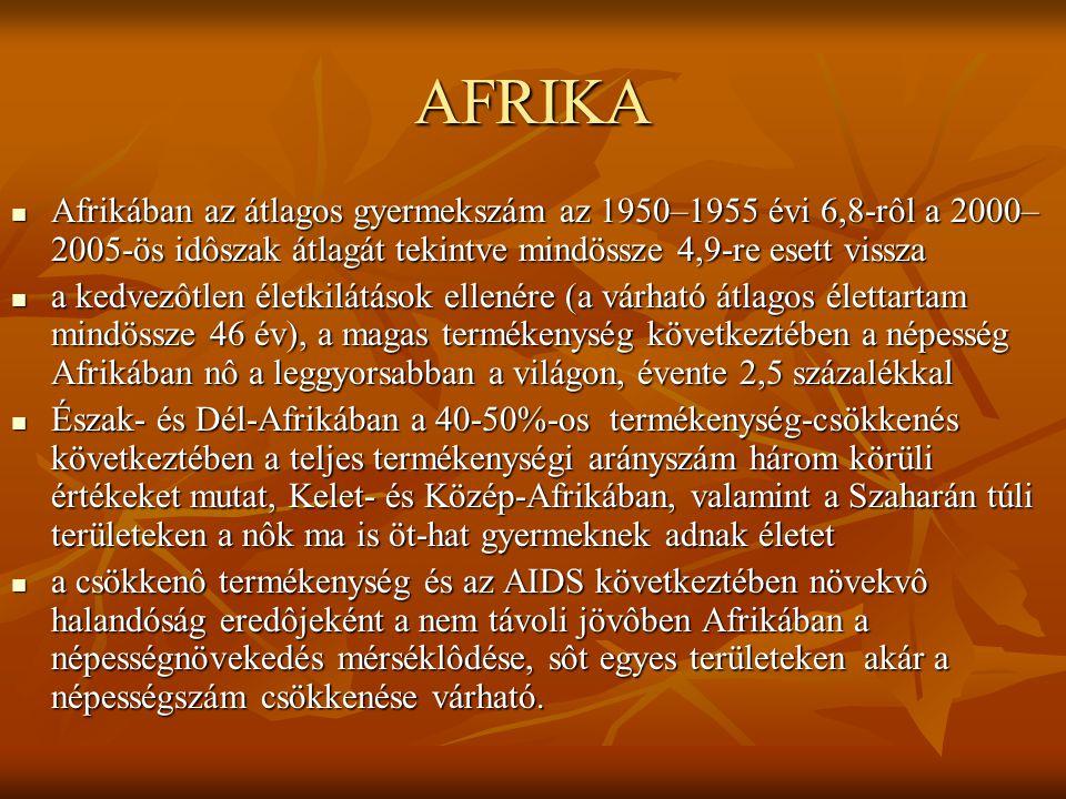 AFRIKA Afrikában az átlagos gyermekszám az 1950–1955 évi 6,8-rôl a 2000–2005-ös idôszak átlagát tekintve mindössze 4,9-re esett vissza.