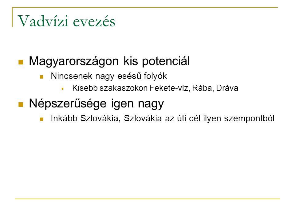 Vadvízi evezés Magyarországon kis potenciál Népszerűsége igen nagy