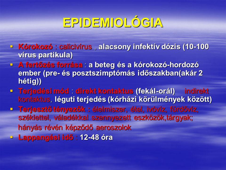 EPIDEMIOLÓGIA Kórokozó : calicivírus , alacsony infektív dózis (10-100 vírus partikula)