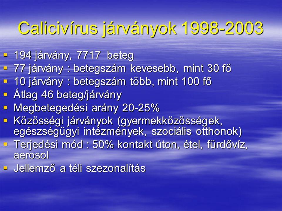 Calicivírus járványok 1998-2003