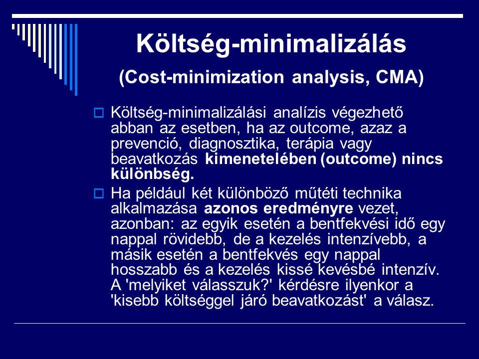 Költség-minimalizálás (Cost-minimization analysis, CMA)