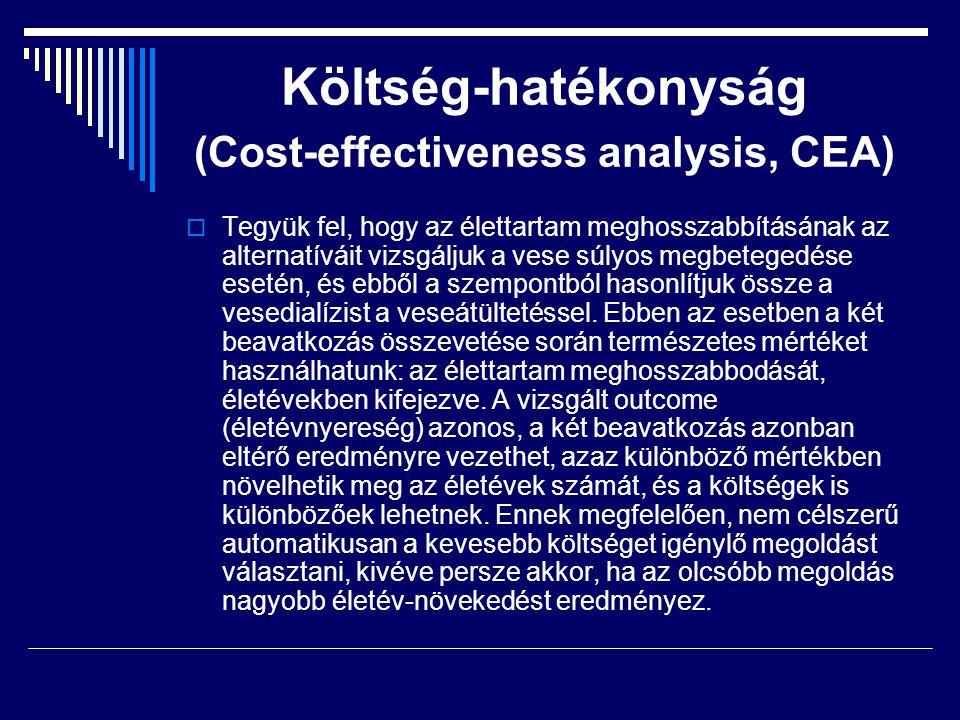 Költség-hatékonyság (Cost-effectiveness analysis, CEA)