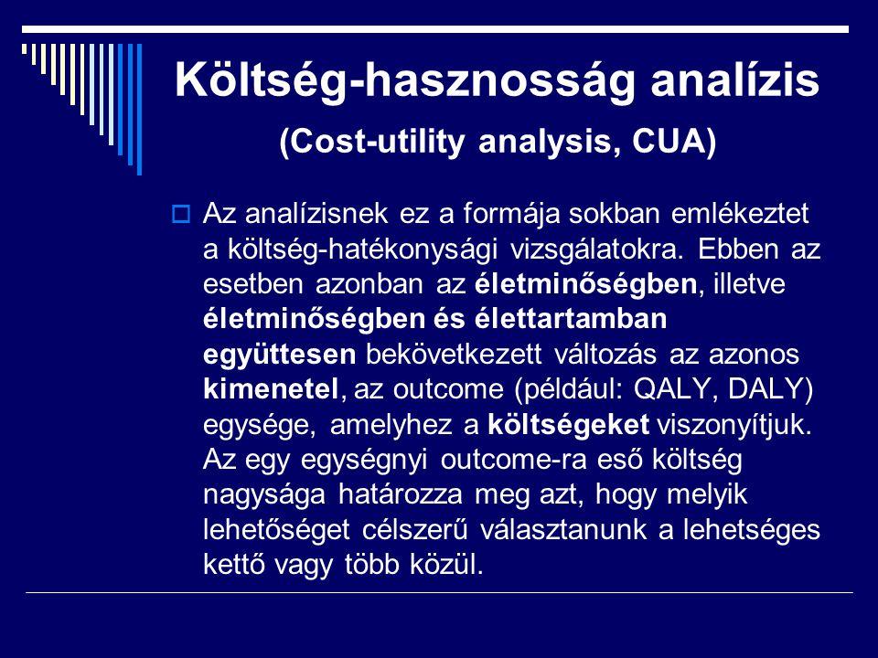 Költség-hasznosság analízis (Cost-utility analysis, CUA)