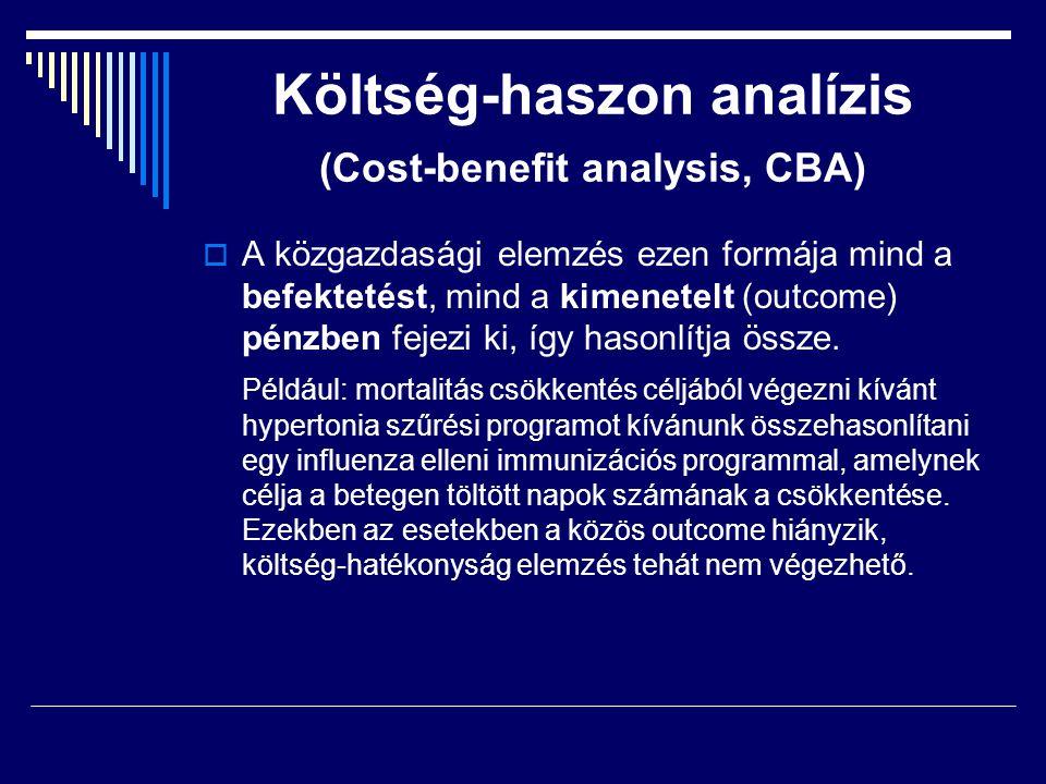 Költség-haszon analízis (Cost-benefit analysis, CBA)