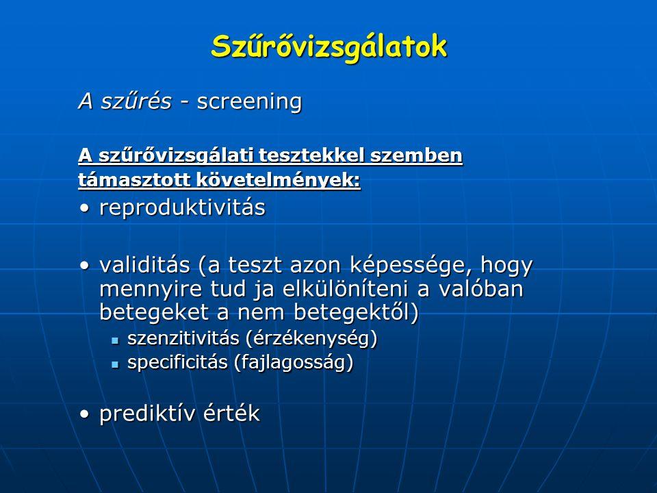 Szűrővizsgálatok A szűrés - screening reproduktivitás