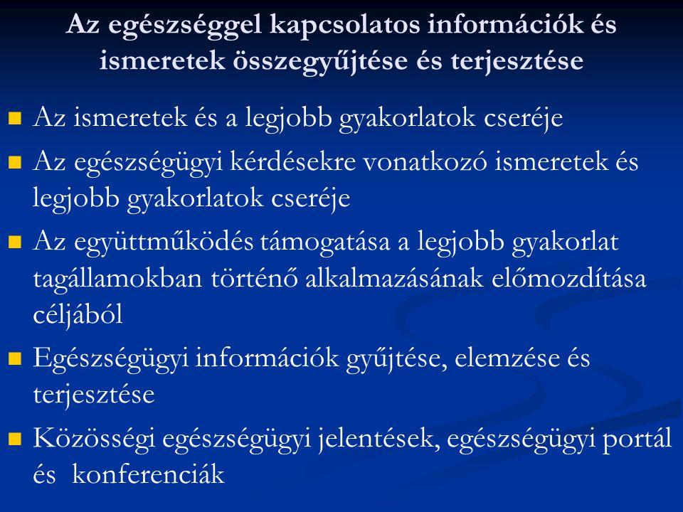 Az egészséggel kapcsolatos információk és ismeretek összegyűjtése és terjesztése