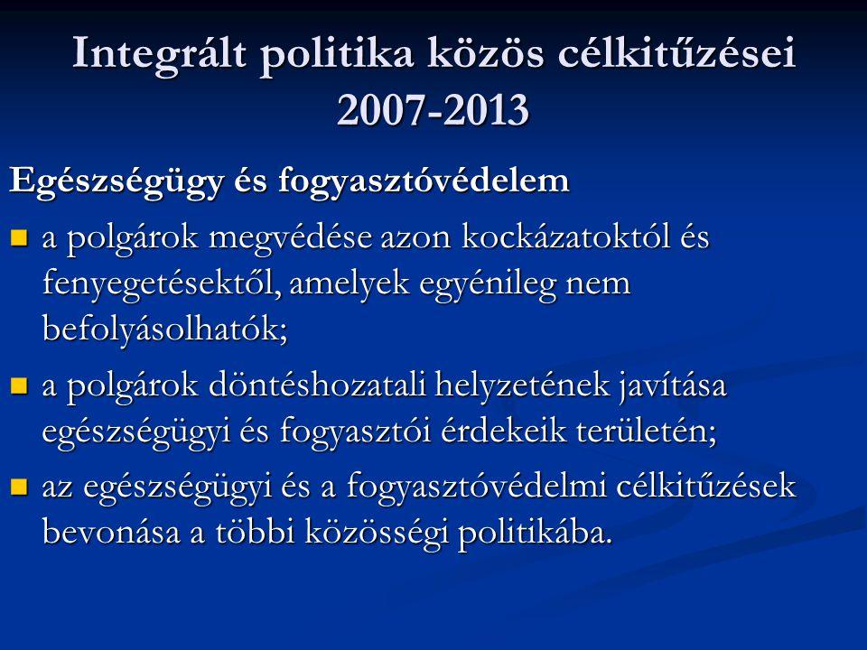 Integrált politika közös célkitűzései 2007-2013