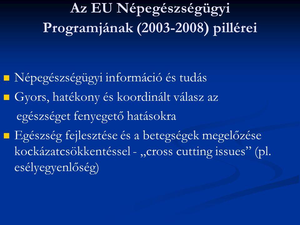 Az EU Népegészségügyi Programjának (2003-2008) pillérei