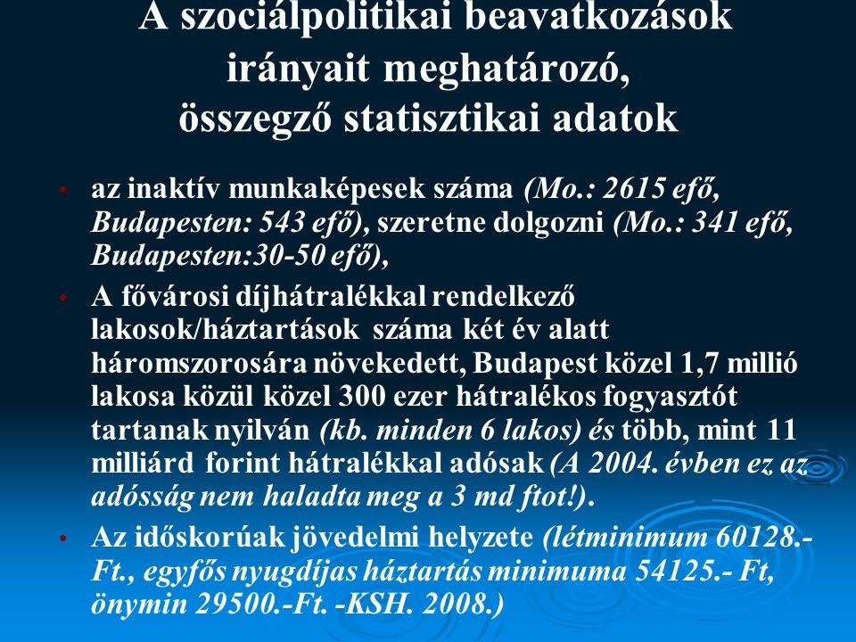 A szociálpolitikai beavatkozások irányait meghatározó, összegző statisztikai adatok