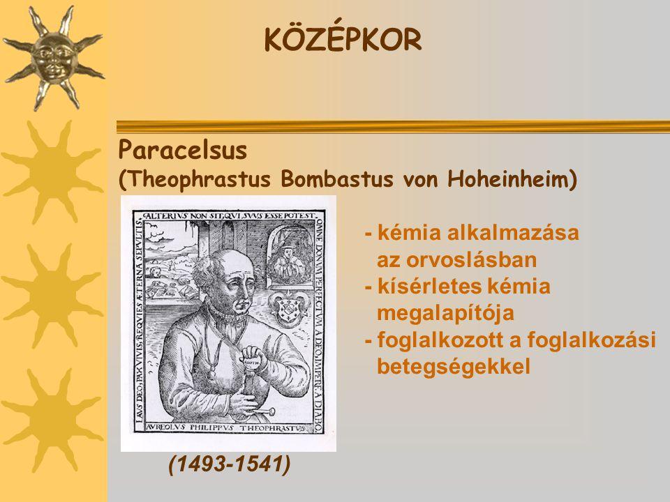 KÖZÉPKOR Paracelsus (Theophrastus Bombastus von Hoheinheim)