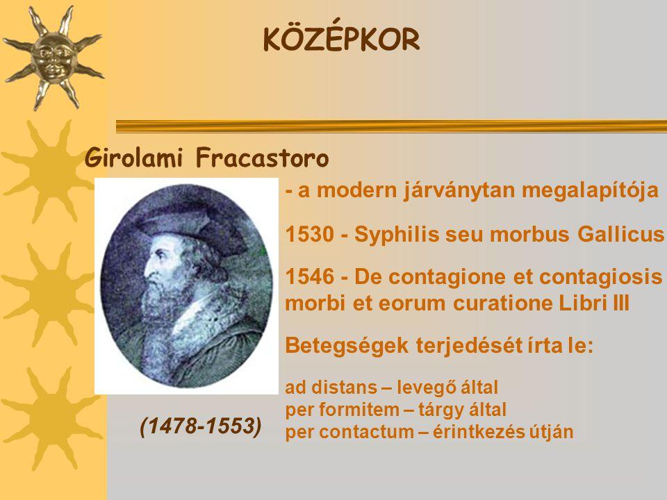 KÖZÉPKOR Girolami Fracastoro - a modern járványtan megalapítója