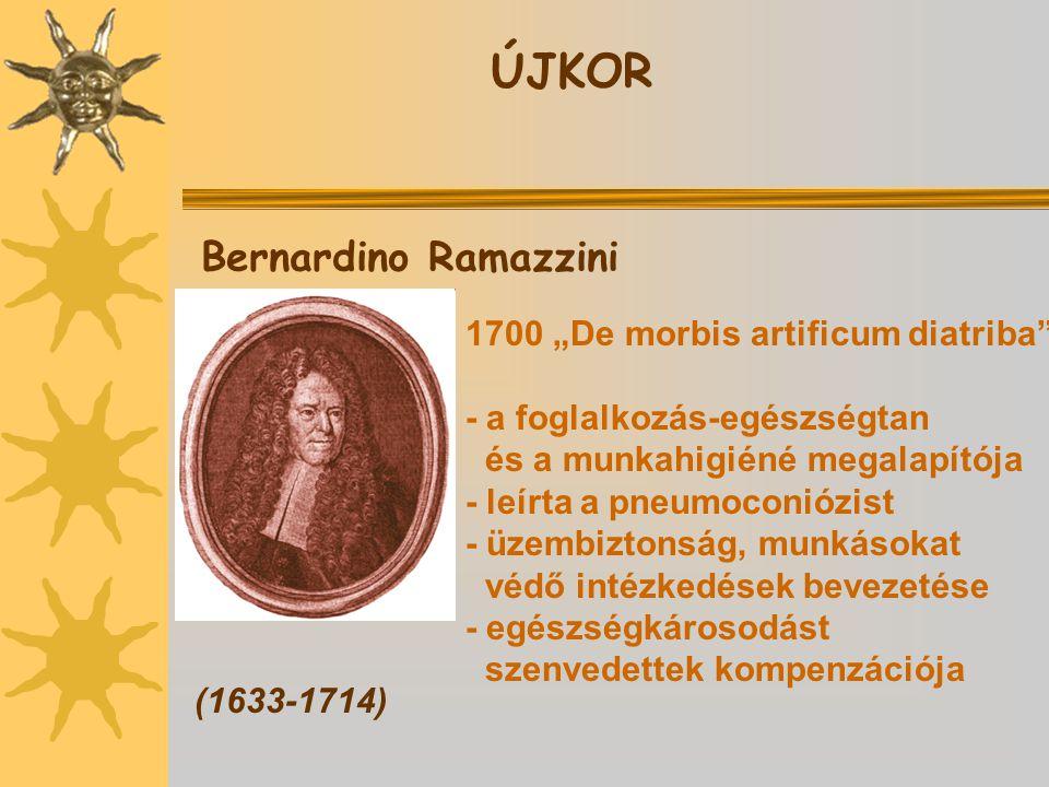"ÚJKOR Bernardino Ramazzini 1700 ""De morbis artificum diatriba"