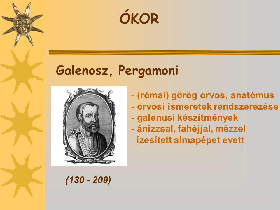 ÓKOR Galenosz, Pergamoni (római) görög orvos, anatómus