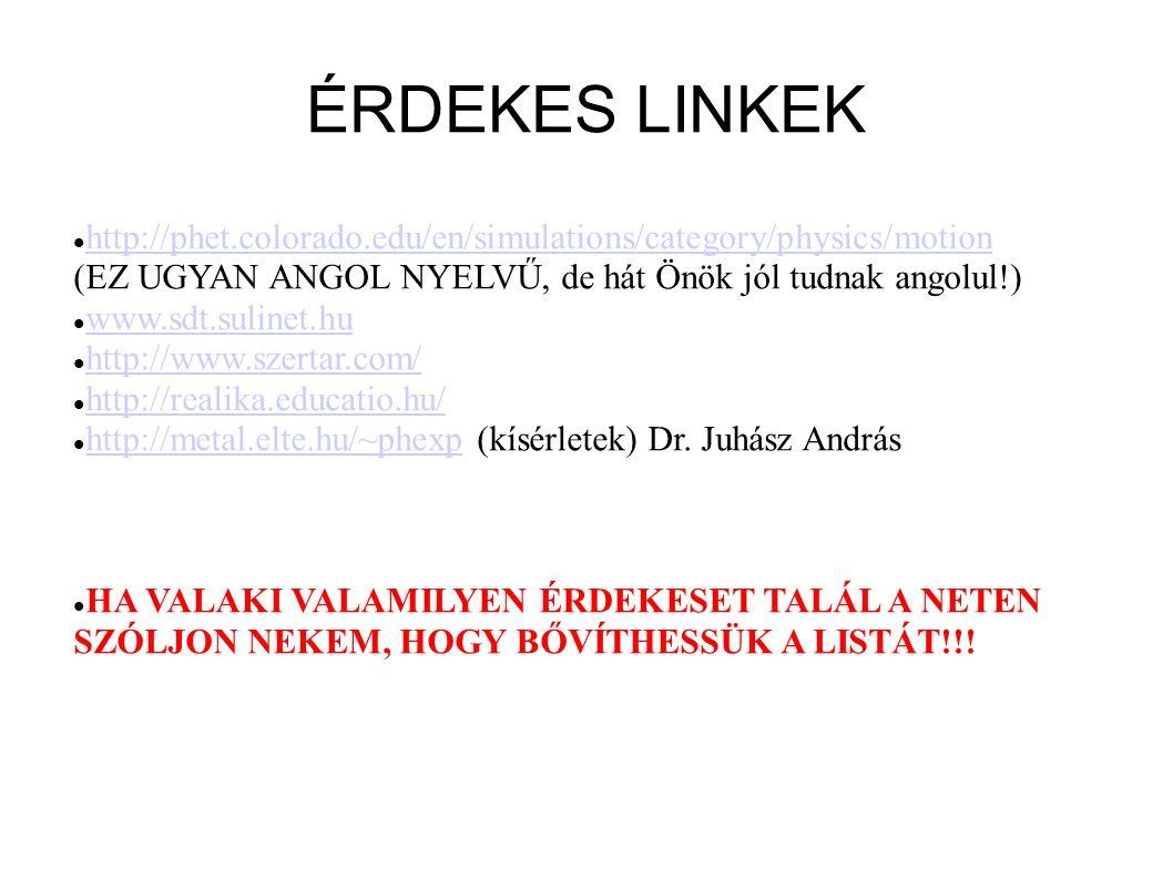 ÉRDEKES LINKEK http://phet.colorado.edu/en/simulations/category/physics/motion. (EZ UGYAN ANGOL NYELVŰ, de hát Önök jól tudnak angolul!)