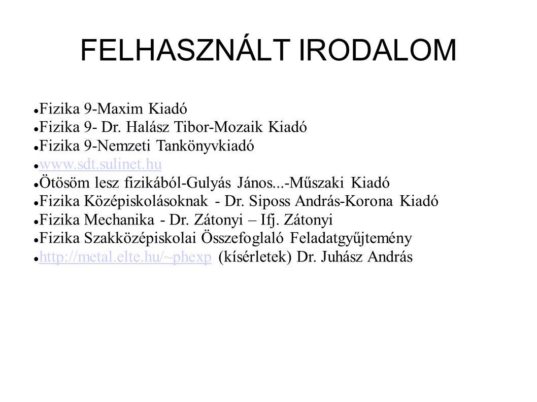 FELHASZNÁLT IRODALOM Fizika 9-Maxim Kiadó