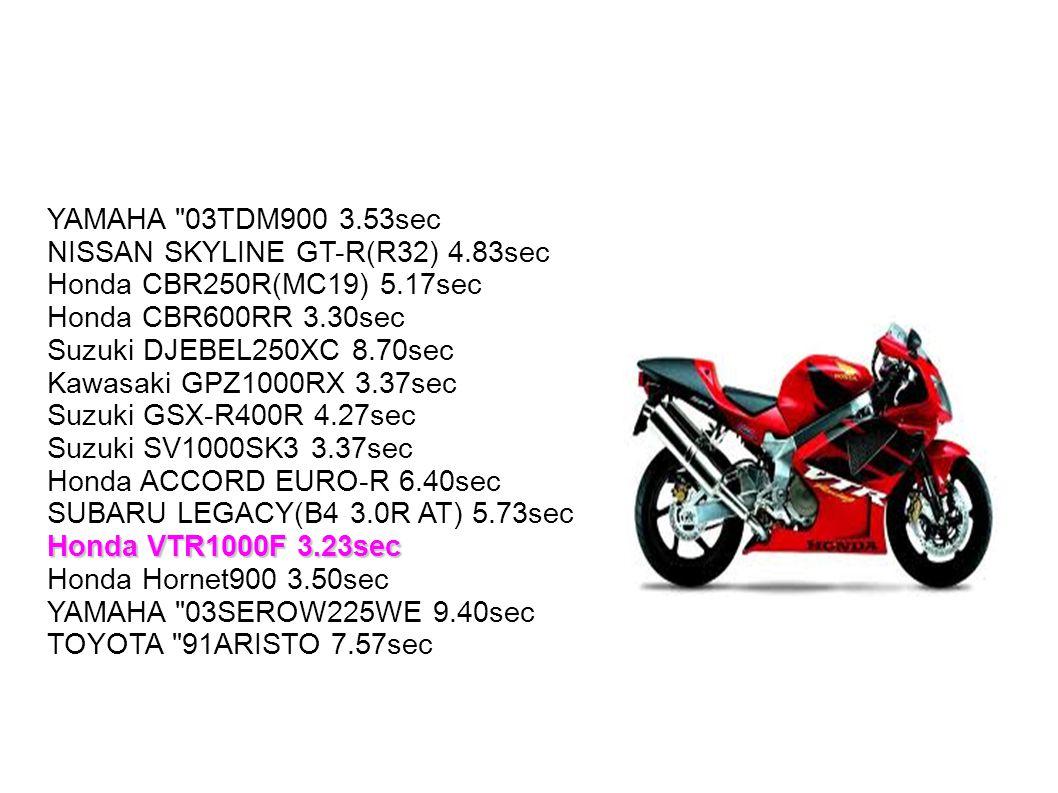 YAMAHA 03TDM900 3. 53sec NISSAN SKYLINE GT-R(R32) 4