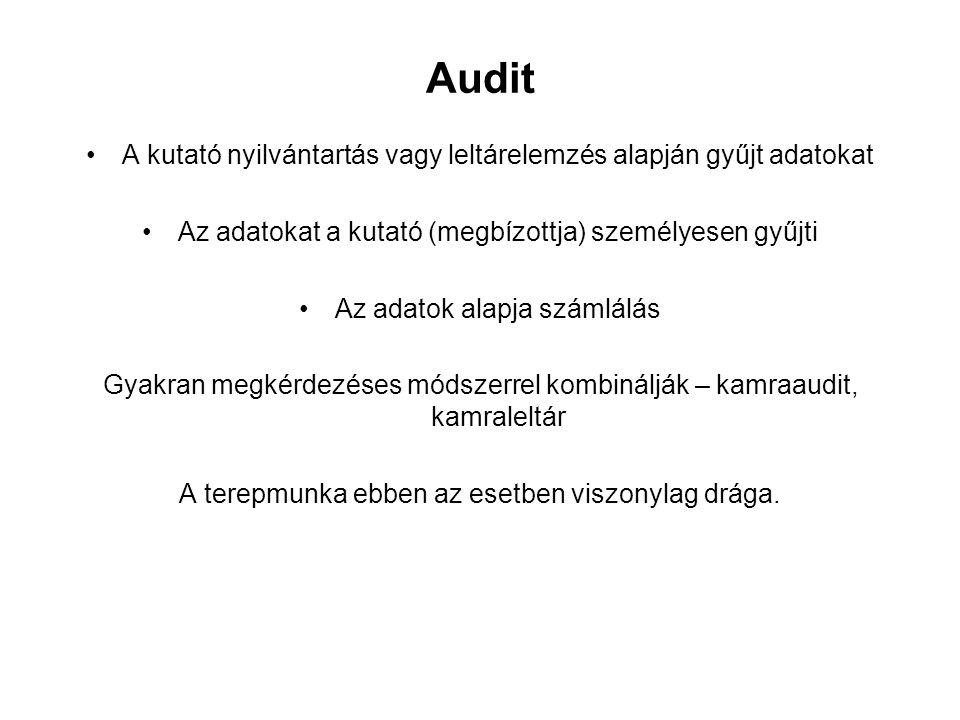 Audit A kutató nyilvántartás vagy leltárelemzés alapján gyűjt adatokat