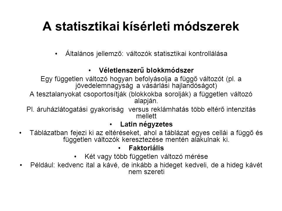 A statisztikai kísérleti módszerek