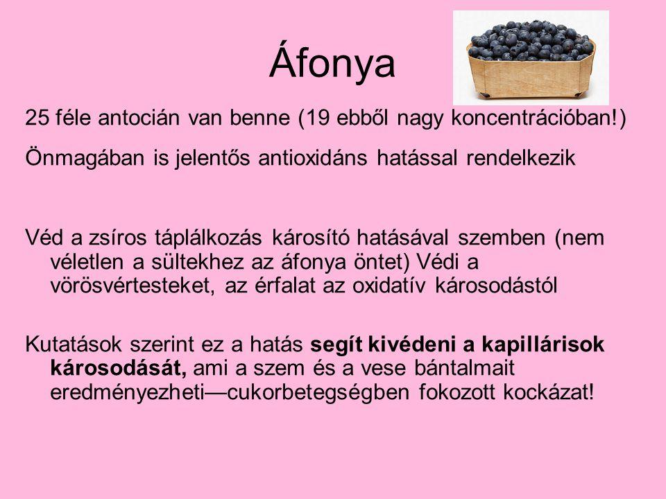 Áfonya 25 féle antocián van benne (19 ebből nagy koncentrációban!)