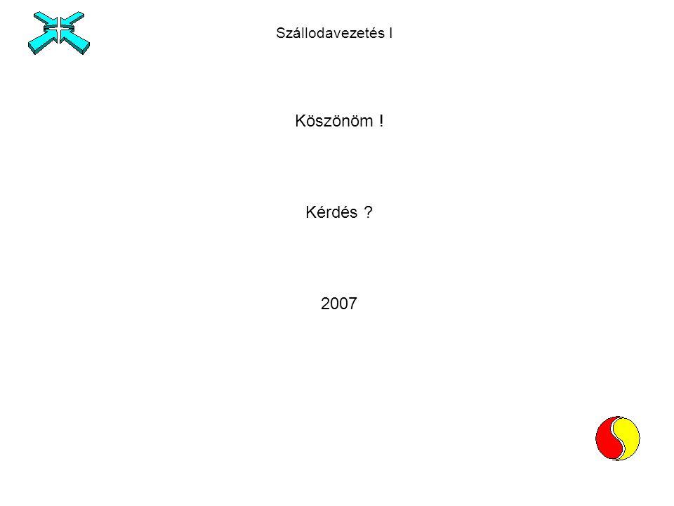 Szállodavezetés I Köszönöm ! Kérdés 2007