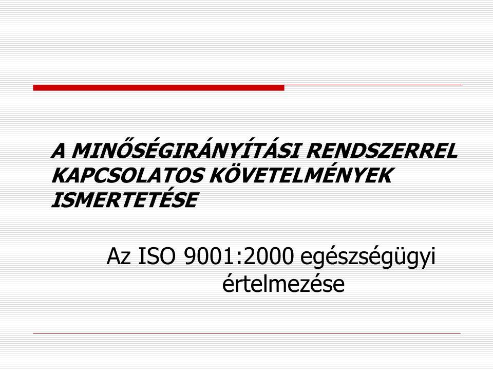 Az ISO 9001:2000 egészségügyi értelmezése