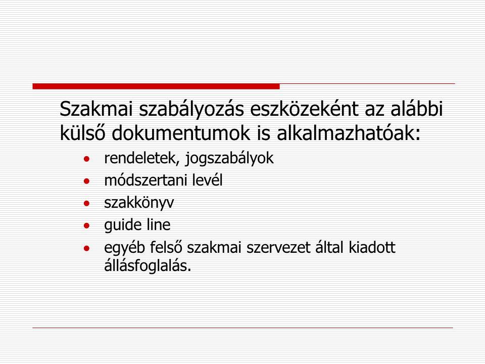 Szakmai szabályozás eszközeként az alábbi külső dokumentumok is alkalmazhatóak: