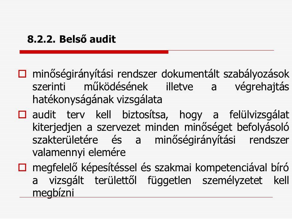 8.2.2. Belső audit minőségirányítási rendszer dokumentált szabályozások szerinti működésének illetve a végrehajtás hatékonyságának vizsgálata.