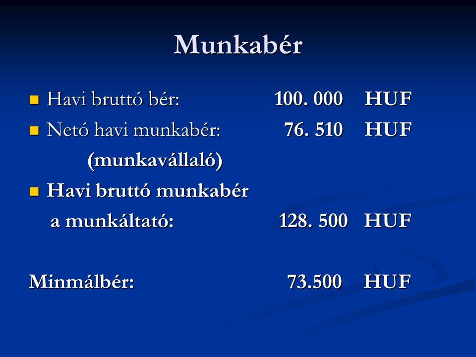 Munkabér Havi bruttó bér: 100. 000 HUF Netó havi munkabér: 76. 510 HUF