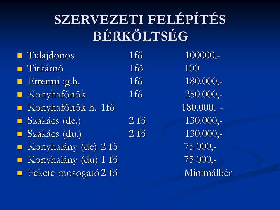 SZERVEZETI FELÉPÍTÉS BÉRKÖLTSÉG