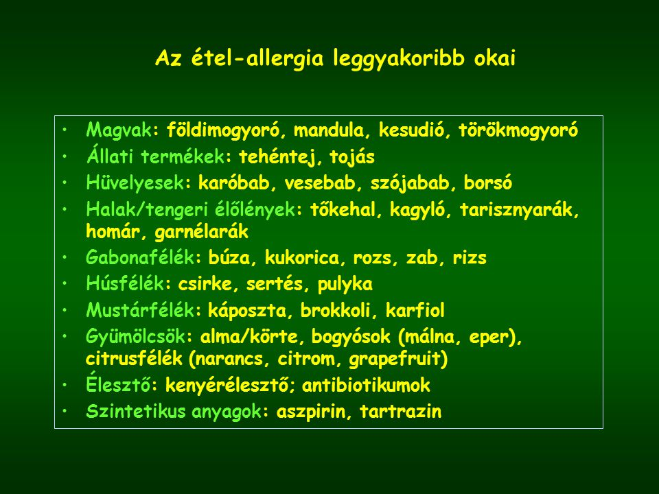 Az étel-allergia leggyakoribb okai