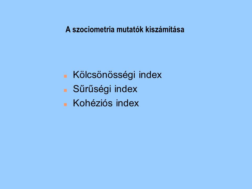 A szociometria mutatók kiszámítása