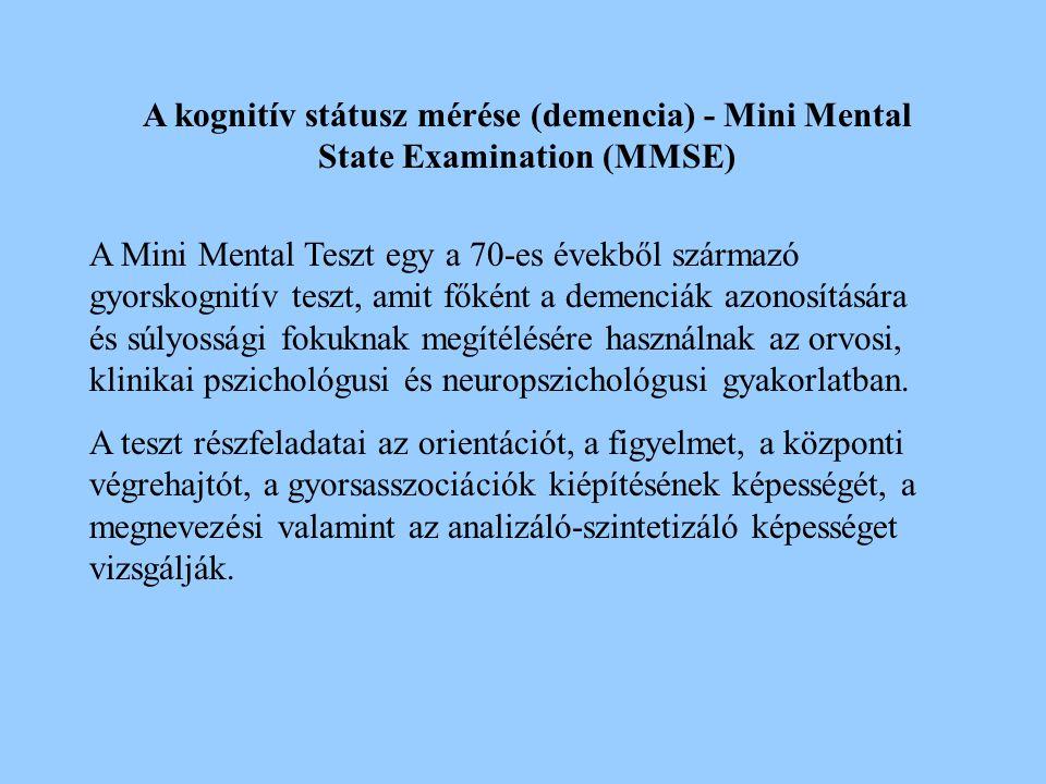 2017.04.04. A kognitív státusz mérése (demencia) - Mini Mental State Examination (MMSE)