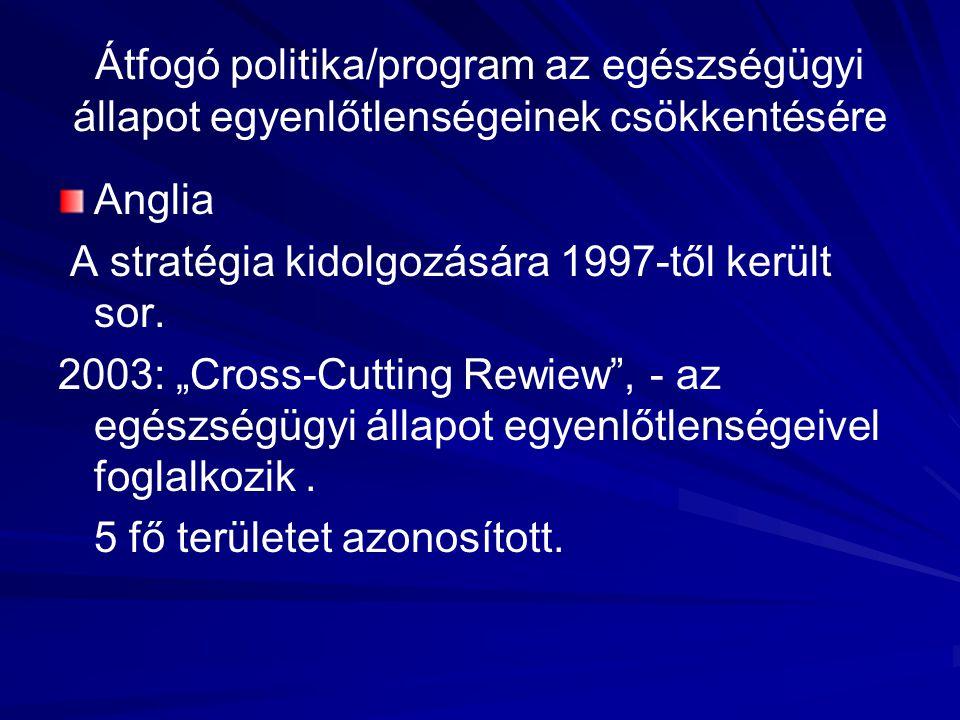 Átfogó politika/program az egészségügyi állapot egyenlőtlenségeinek csökkentésére