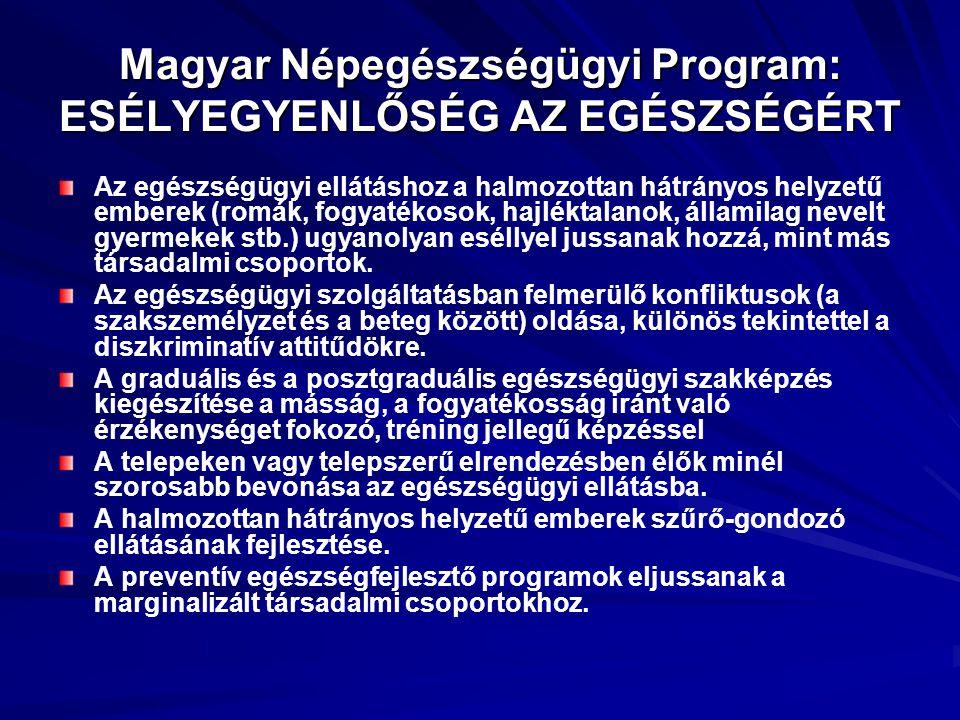 Magyar Népegészségügyi Program: ESÉLYEGYENLŐSÉG AZ EGÉSZSÉGÉRT