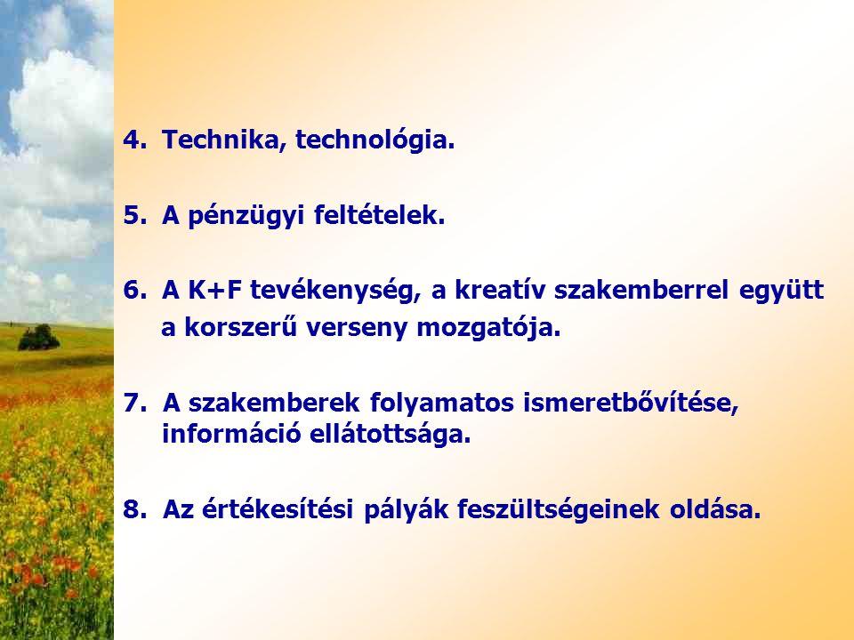 Technika, technológia. A pénzügyi feltételek. A K+F tevékenység, a kreatív szakemberrel együtt. a korszerű verseny mozgatója.